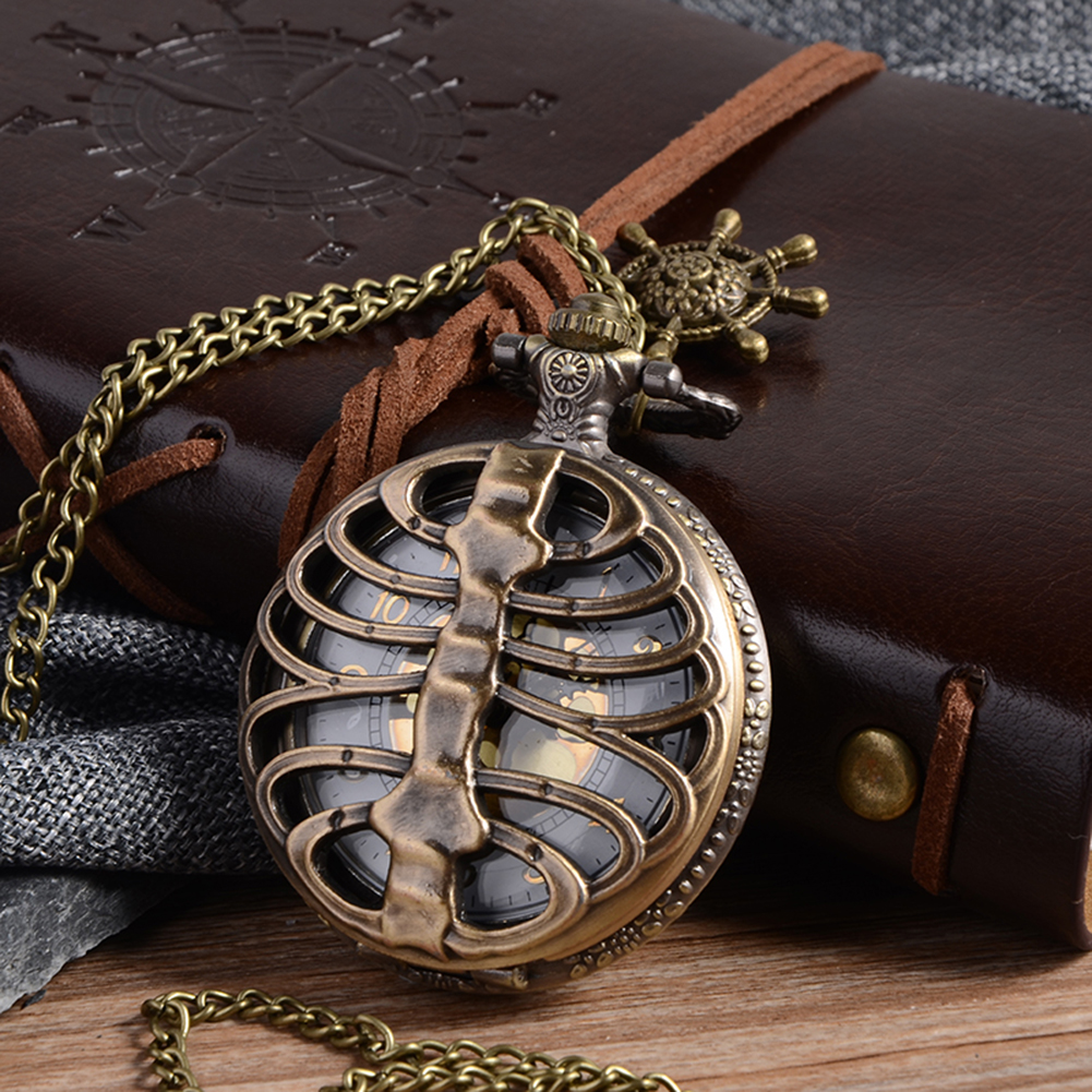 цена на Cindiry Retro Steampunk Bronze Spine Ribs Hollow Quartz Pocket Watch with Necklace Pendant sweater chain Women Gift P20