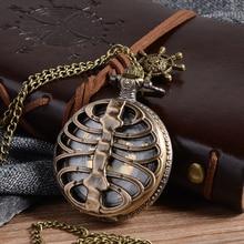 Cindiry Retro Steampunk Bronze Spine Ribs Hollow Quartz Pocket Watch with Necklace Pendant sweater chain Women Gift P20