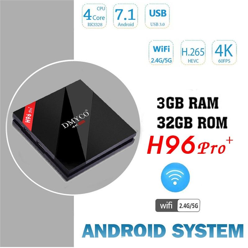 H96 pro+Plus Android 7.1 TV Box Amlogic S912 Octa Core 3GB/32GB 4K HD Smart TV Box 2.4G/5G Wifi BT 4.1 Media Player+ 1 year iptv