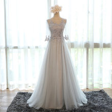 Mother of the Bride Dresses A-line Half Sleeve Tulle Lace Long Formal Evening Gown Mother Dresses For Wedding Navy Blue MB06B(China)