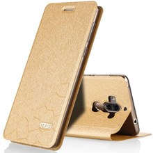 Ultra thin оригинал мода MOFI Роскошный Шелк Серии стенд Флип Кожаный Чехол задняя Крышка shell для Huawei Ascend Mate 9