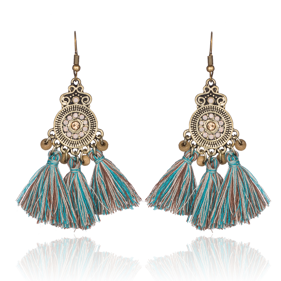 Rhinestone long earrings with crystals Boho style drop tassels wedding earring for women Dangle green lot