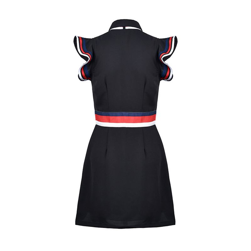 Robe Hit Patchwork Qualité Femmes Designer Piste Noir Bord Bref Feuille De 2017 Couleur Haute Lotus Robes Arc D'été Marque Zxw6qnHz