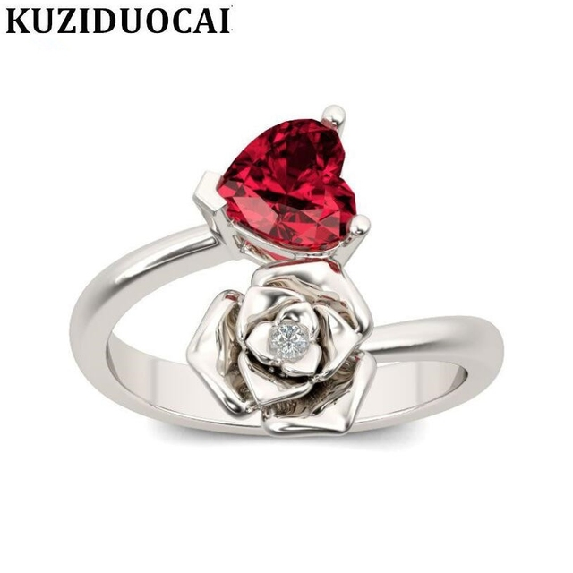 Kuziduocai 2018 New Fashion Fine Jewelry Stainless Steel Zircon Rose Flower Love Heart Elegant Wedding Rings For Women Gift R675