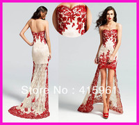 vestido de festa robe de soiree Red Sweetheart Short Front Long Back Lace appliques Prom Dresses formal Evening Dress 2019