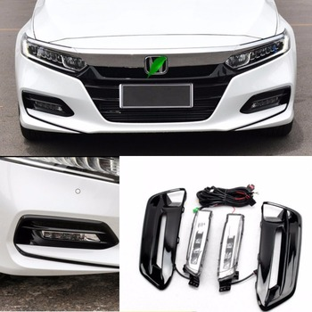 JanDeNing LED Car Front Bumper Fog Light Driving Lamp w/Switch+Harness For 2018 Honda Accord 10th generation