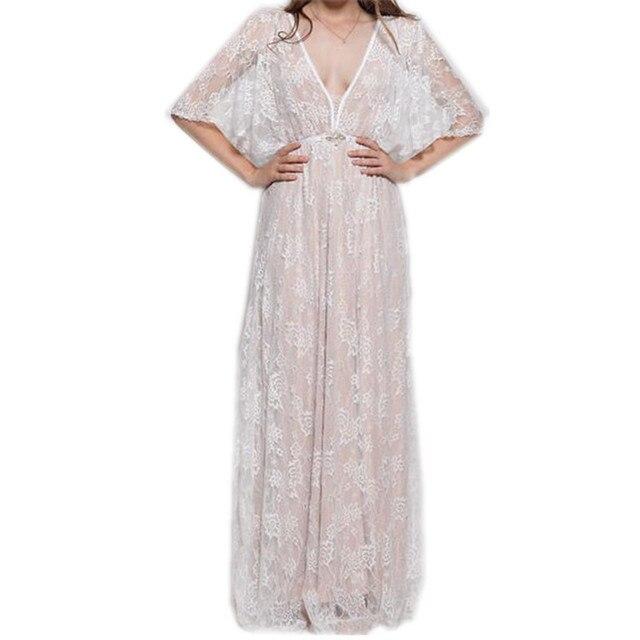 Frauen Sexy Vintage Weiße Spitze Kleid Abend Party Boho Kleid ...