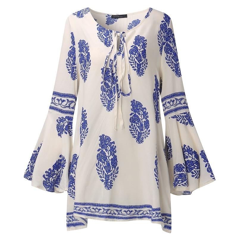 ZANZEA 2018 Dame Boho Lace Up V-Neck Shirt Stor Størrelse Floral - Dametøj - Foto 4