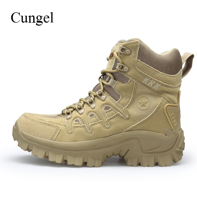 Cungel Outdoor Army Tactical boots Men Trekking Hiking shoes Anti-skid Military desert combat boots Mountain climbing shoes