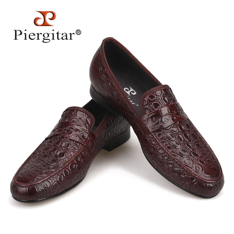 Piergitar 2018 new style Marble Embossing Brown Genuine Leather Loafers Men Casual shoes Men s Flats