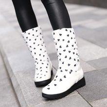 2014 Women Heart-shaped Printing Thick Flat Heels half Snow Boots Waterproof Fashion Ladies Platform Winter Warm Boots padded