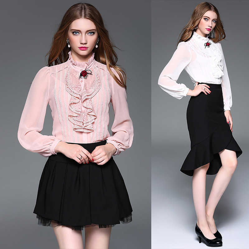 High Quality 2017 Pink Body Shirt Fashion Office Lady Blouse Winter Work Wear Silk One Piece Brand Female Casual Basic Shirt