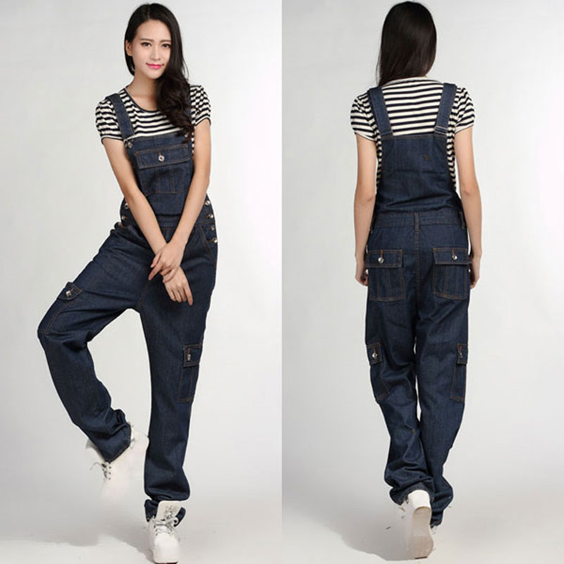 Free Shipping 2016 Jeans Fashion Loose Plus Size 5XL Pants For Women High Quality Overalls Jumpsuit And Rompers Denim Trousers afs jeep 2017 fashion denim pants mens thin cropped trousers overalls jeans man loose jeans mans wear plus size 38 40 42 44