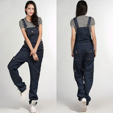 Free Shipping 2016 Jeans Fashion Loose Plus Size 5XL Pants For Women High Quality Overalls Jumpsuit And Rompers Denim Trousers