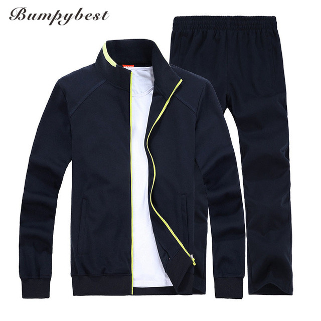 Bumpybeast 2018 Демисезонный Для мужчин спортивные костюм комплект куртка + штаны тренировочный комплект из 2 частей спортивной костюм мужской набор Костюмы 8xl