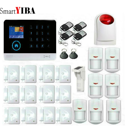 SmartYIBA Smart House LCD Wireless WIFI Security Alarm System APP GSM Residential Alarm with Flash Siren IP Camera Pet Sensor