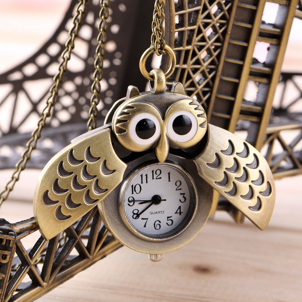 Stylish Cartoon Retro Bronze Owl Pocket Watch Sweater Chain Necklace Slide Watch Relogio De Bolsob Unisex Kids Gift