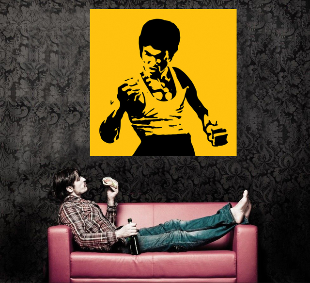 Abstract canvas painting ideas modern wall art home decoration pop art bruce lee famous star cuadros