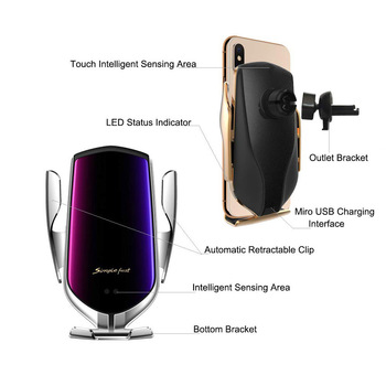 Automatic Clamping Car Wireless Charger 10W Quick Charge for Iphone 11 Pro XR XS Huawei P30 Pro Qi Infrared Sensor Phone Holder 5
