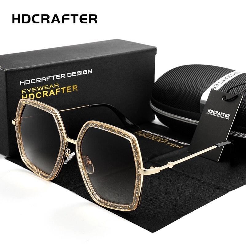 HDCRAFTER 2018 Новый Для женщин Кристалл негабаритных солнцезащитные очки Марка Дизайн Ретро бриллианты для леди очки женские оттенки очки