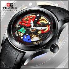 יוקרה מותג גברים מכאני שעון אוטומטי חלול צבעוני שעונים TEVISE אופנה גבר עמיד למים ספורט שעון Relogio Masculino