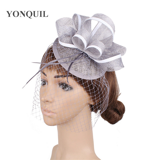 f61aa02f2868a Ladies elegant nice feather sinamay hats women hair accessories fancy  fascinators for wedding party bridal hats and races MYQ013