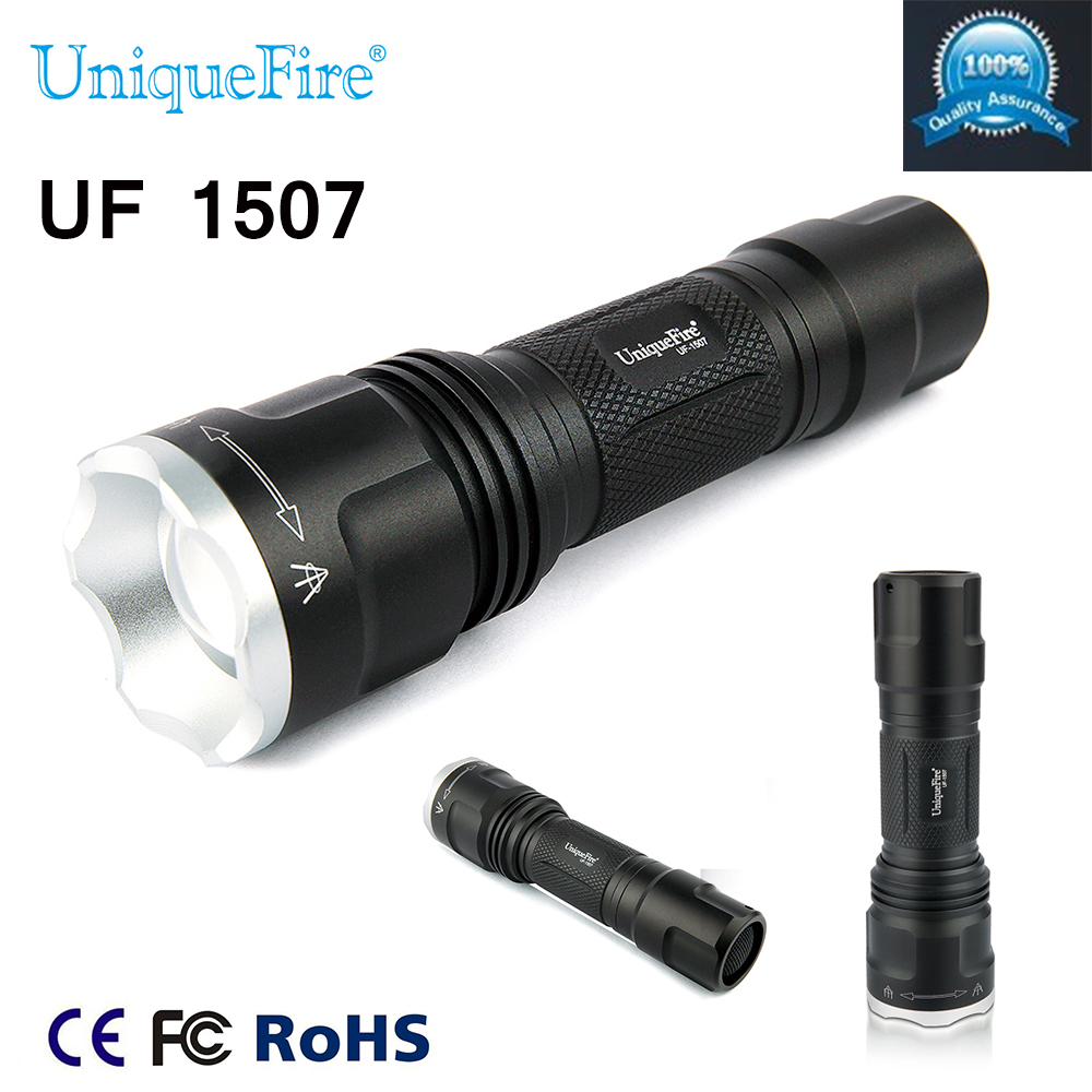 Uniquefire UF-1507 Black Mini Zoom Flashlight  850NM IR Led Light Infrared 20mm Convex Lens Torch Night Vision Camping Light uniquefire uf 1407 mini 850 ir led zoomable flashlight 3 modes 30mm convex lens torch camping light for 1x 18650 battery