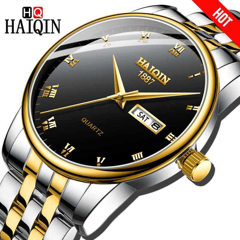 HAIQIN Gold Mens watches Fashion Mens watches top brand luxury Sport Military quartz wrist watch men relogio masculino 2018 HotHAIQIN Gold Mens watches Fashion Mens watches top brand luxury Sport Military quartz wrist watch men relogio masculino 2018 Hot