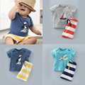 Toddler Boys Clothing Fashion Boys Summer Clothes T-Shirt And Striped Pants Children Clothing Set Casual Vetement Enfant