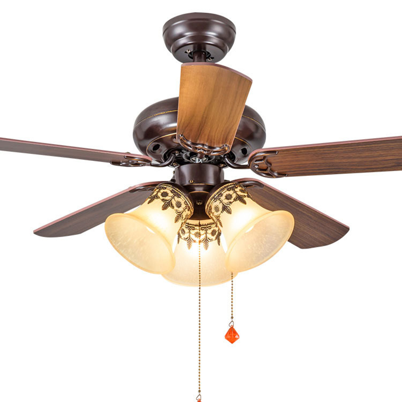 TRAZOS Modern 42 Inch Iron Blade black Ceiling Fans With Lights Remote Control Ceiling Light Fan Lamp Ventilador De Teto