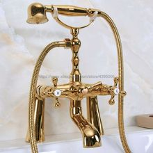 цены Bathtub Faucet Golden Deck Mounted Tub Mixer Faucet Dual Handle Hot and Cold Water Tap Telephone Style + hand shower Bna151