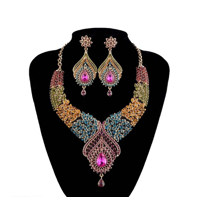 Statement-India-style-Necklace-earrings-sets-Bridal-wedding-Party-Necklace-Water-Drop-Type-Golden-Plated-Crystal-Jewelry-Sets