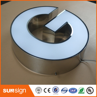 Outdoor advertising shop sign Frontlit painted stainless steel channel letter