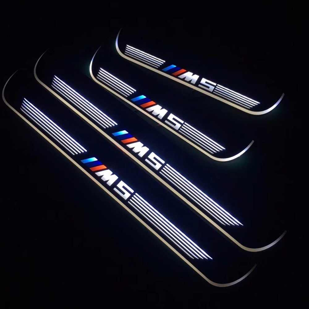 RQXR led moving door scuff for bmw e60 m5 dynamic door sill plate flat lining overlay flow/fixed light, 4pcs