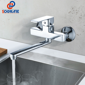 цена на SOGNARE Wall Mounted Bathroom Shower Faucet Set 225mm Stainless Steel Long Nose Outlet Bathroom Mixer Bath Faucet Mixer Tap