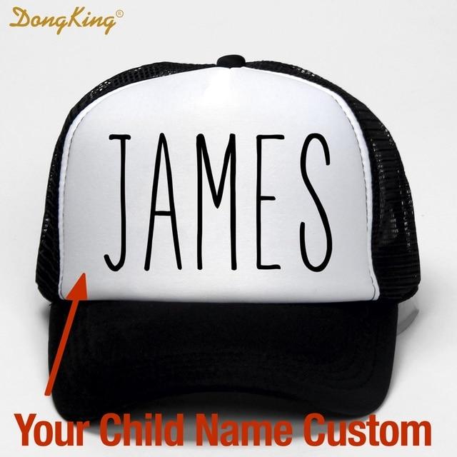 DongKing ילדים תינוק ילד שם מותאם אישית נהג משאית כובע מודפס שם ילד תינוק בן בת מותאם אישית אישי כובע ספיד בייסבול כובע מתנה