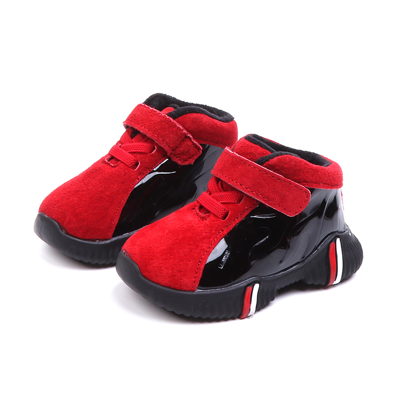 Warm Boys First Walkers 2018 New Winter Kids Sport Shoes Matte and Mirror Leather Patchwork Sneakers Toddler Baby Shoes 1 years