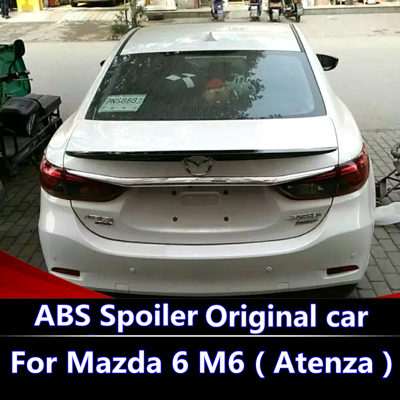 For <font><b>Mazda</b></font> 6 Atenza 2014-2017 <font><b>Spoiler</b></font> High Quality ABS Material Car Rear Wing Primer Color Rear <font><b>Spoiler</b></font> For Atenza <font><b>spoiler</b></font> image