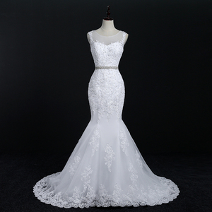 Image 3 - Fansmile Neue Vestido De Noiva Weiß Spitze Meerjungfrau Hochzeit Kleid 2020 Zug Plus Größe Angepasst Hochzeit Kleid Braut Kleid FSM 580M