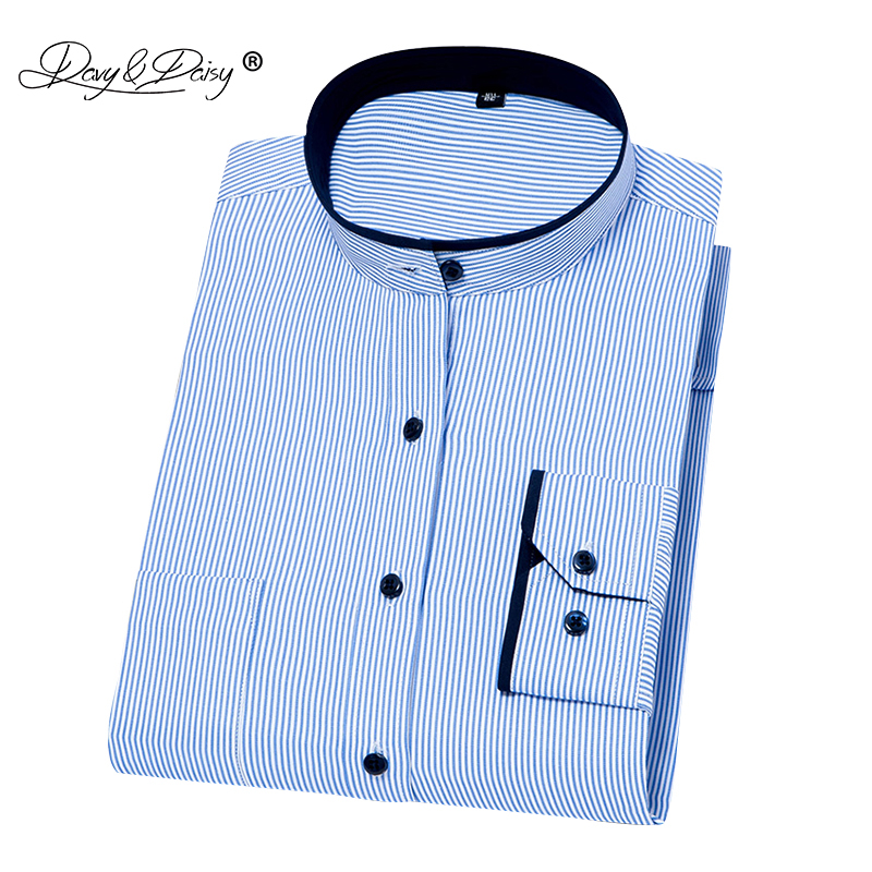 DAVYDAISY 2019 New Arrival Men Shirt Fashion  Long Sleeved Men Stand Collar Slim Fit Dress Shirt  Man Camiseta Masculina  DS246
