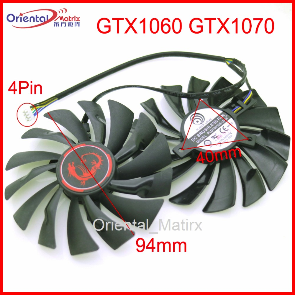 Free Shipping 2pcs/lot PLD10010S12HH DC12V 0.40A 94mm 40*40*40mm 4Pin VGA Fan For MSI GTX1070 GTX1060 Graphics Card Fan computador cooling fan replacement for msi twin frozr ii r7770 hd 7770 n460 n560 gtx graphics video card fans pld08010s12hh