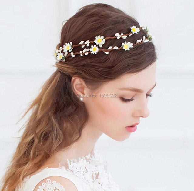 Beach Wedding Bride Flower Crown Double Layer Pip Berries Rattan Hair Garland Woodland Daisy Headband Diy