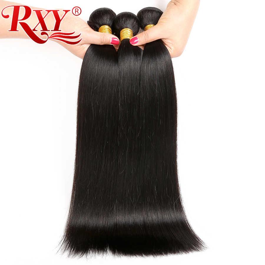 """RXY индийские волосы Комплект дважды утка длинные прямые волосы Комплект s 100% человеческих волос 10 """"-28"""" 1/3/4 Комплект s Бесплатная доставка"""