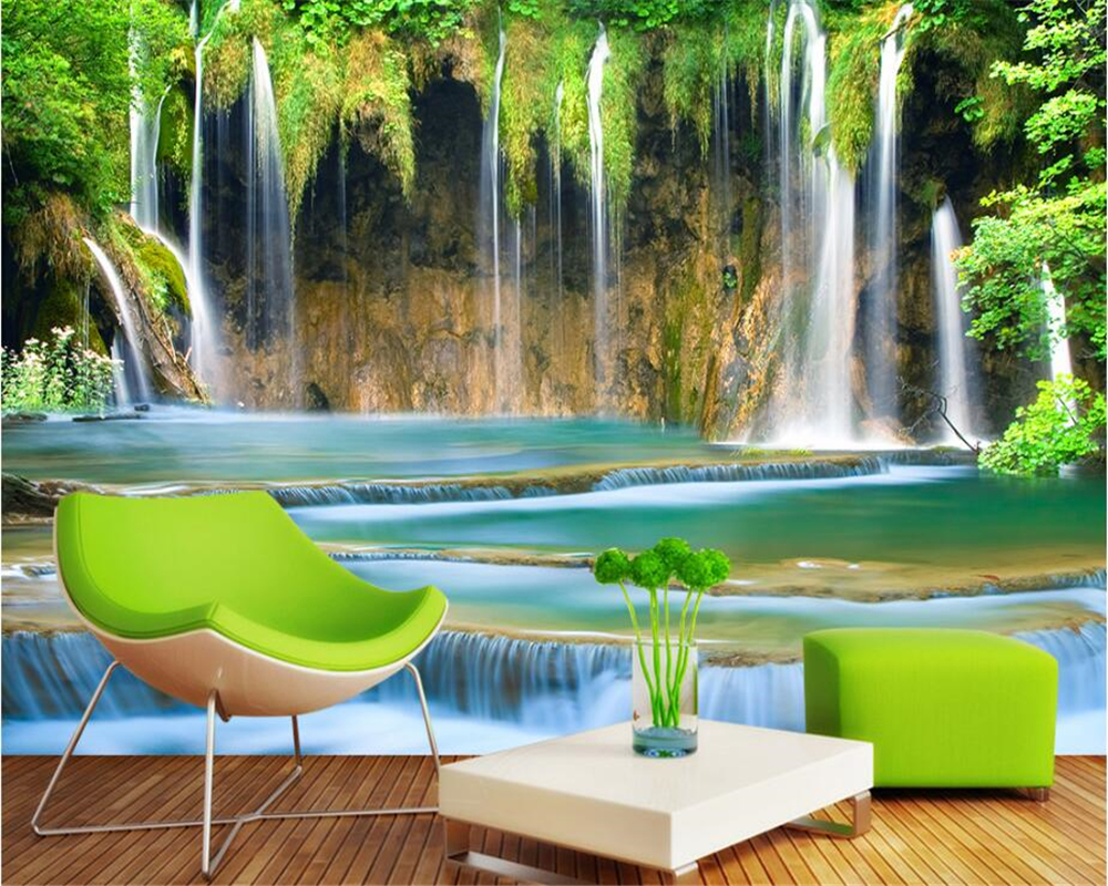 beibehang Customize any size papel de parede wallpaper waterfall three-dimensional landscape background wall backdrop painting