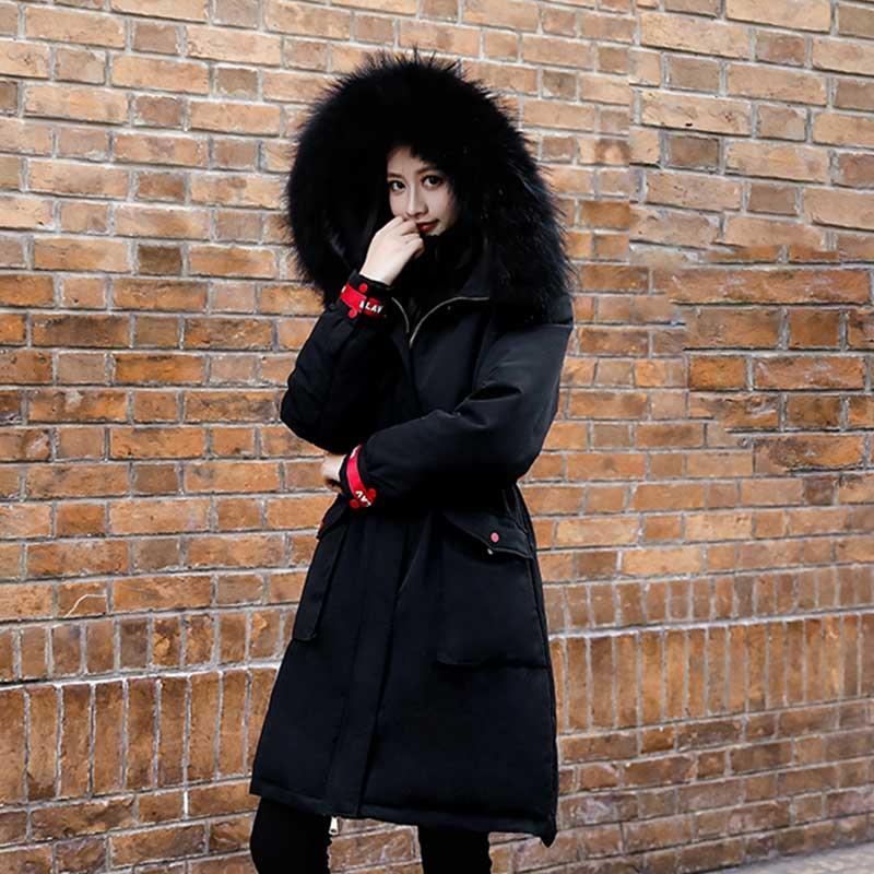 Frauen 4xl Winter Lange Jacke Warme Mit Kapuze Parka Puffer Schnee Ski Oversize Lange Mantel Samt Damen Koreanische Dicken Schwarzen Oberbekleidung
