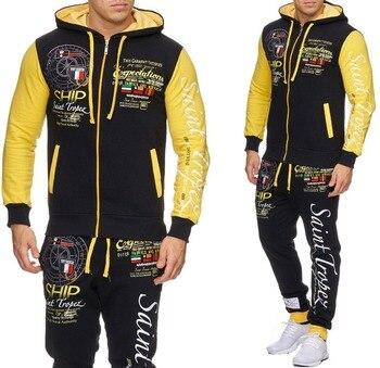 4883562a Zogaa мужские наборы 2019 модные спортивные толстовки и брюки набор мужские спортивные  костюмы повседневные худи и свитшоты спортивный костюм