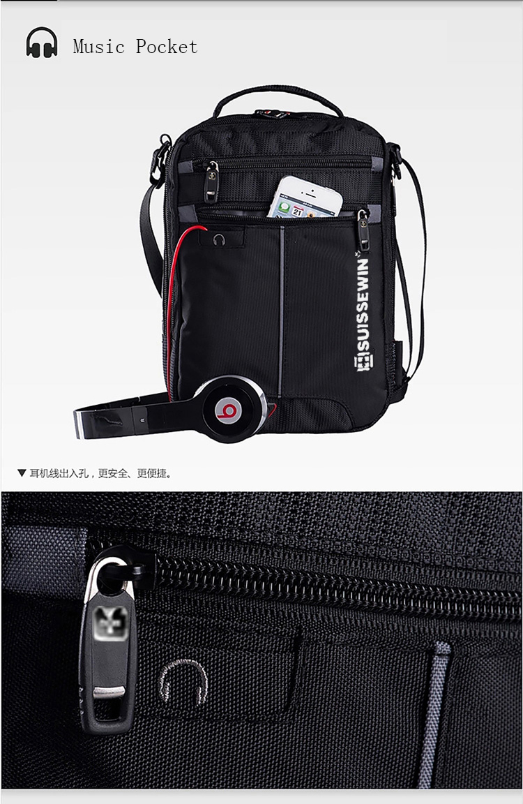 """Swiss Shoulder Bag Leisure Briefcase Small Messenger Bag for 9.7"""" 11""""Tablets and Documents Men's Black Handbag crossbody bag"""