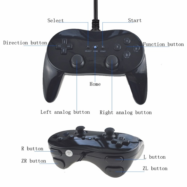 White/Black Classic Wired Game Controller Gaming Pro Remote Game Controller Gamepad For Nintendo Wii 5