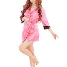 Solid Lace Trim Patchwork Bathrobe Short Kimono Silk Satin Robes Night Bath Robe For Women