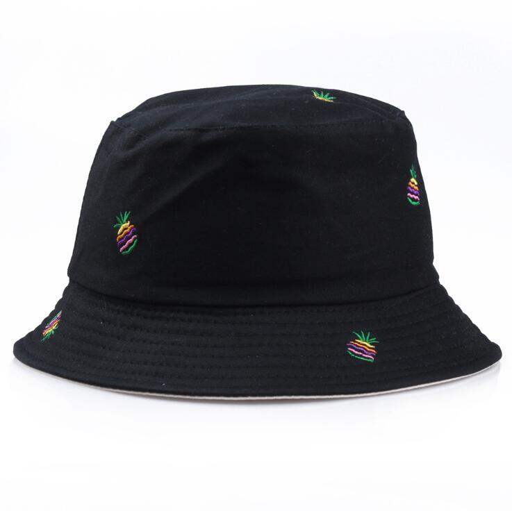 100 Pcs/lot Zwei Seite Reversible Schwarz Beige Ananas Eimer Hut Unisex Chapea Angeln Hut Bob Caps Frauen Männer Panama Hut Sommer